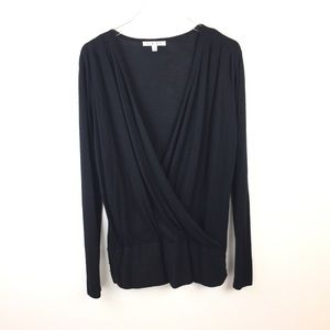 CAbi Wool Knit Black Crossover Wrap Sweater Top